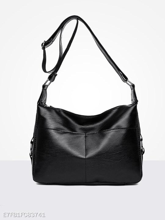 Fashion Soft PU Zipper Shoulder Bag