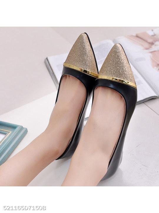 Color Block Low Heeled Point Toe Date Closed-Toe Wedges