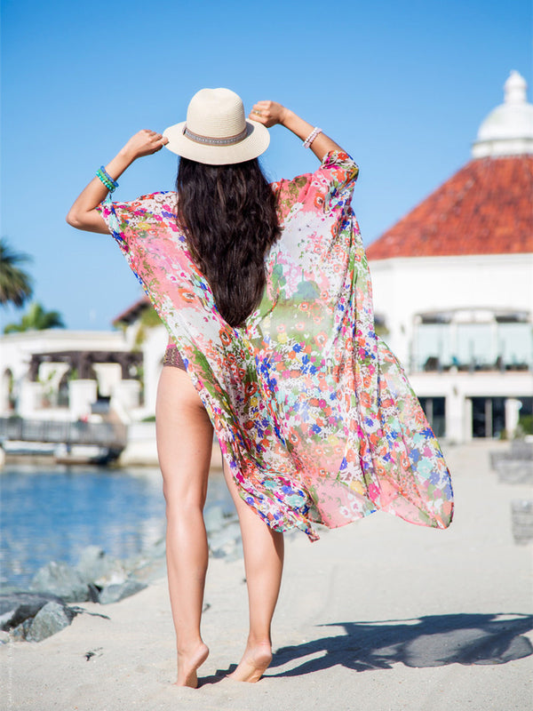 Chiffon Printed Cardigan Beach Swimwear Cover Up Blouse