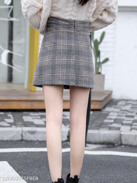 Cutout Decorative Button Plaid A-Line Mini Skirts