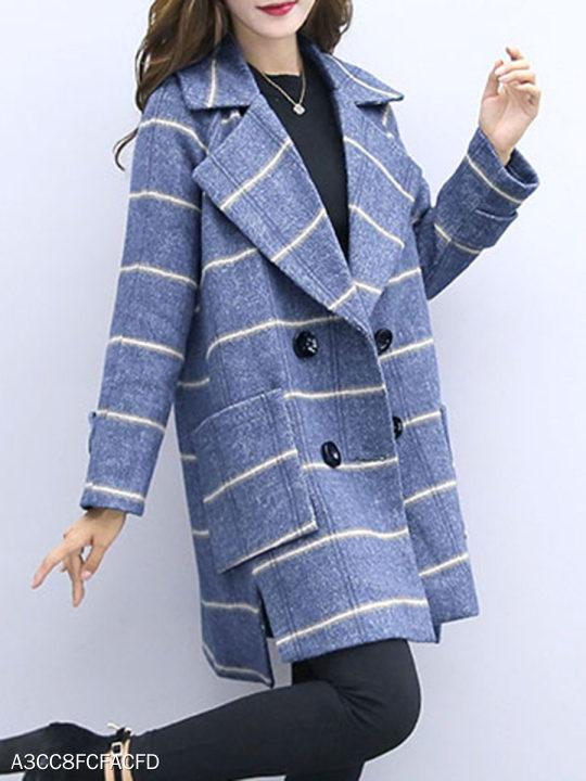 Lapel Double Breasted Plaid Coat
