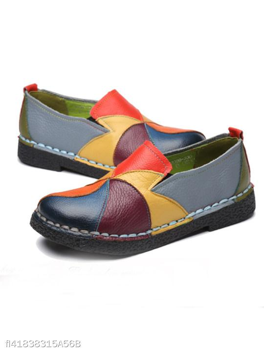 Color Block Flat Round Toe Casual Date Comfort Flats