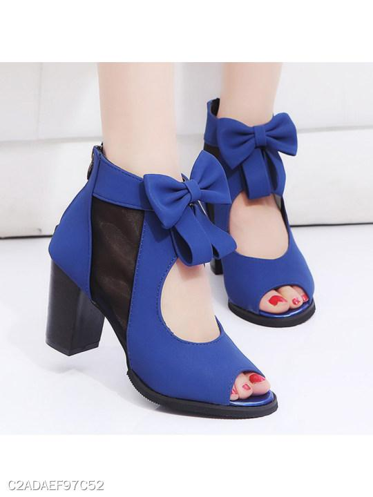 Plain Chunky High Heeled Velvet Ankle Strap Peep Toe Date Outdoor Peep-Toe Heels