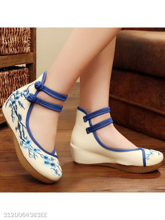 Color Block Embroidery Floral Flat Ankle Strap Round Toe Casual Flat & Loafers