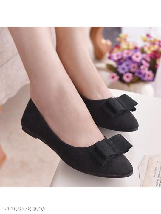 Plain Flat Velvet Point Toe Date Comfort Flats