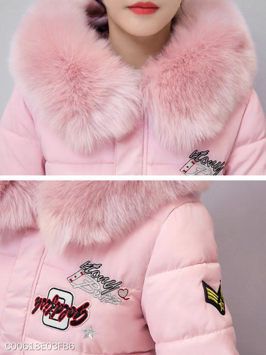 Hooded Fur Collar Letters Coat