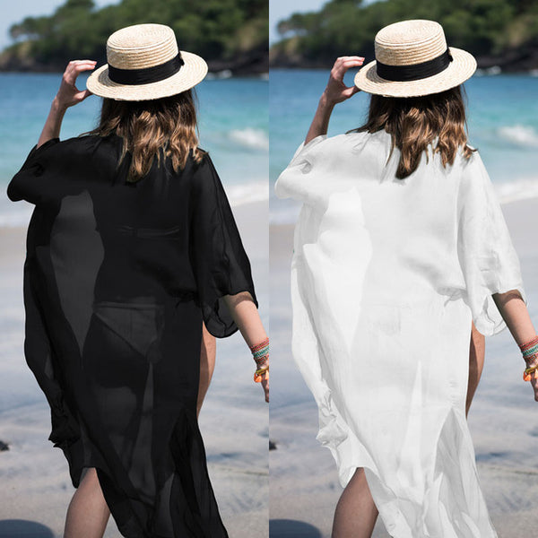 Monochrome Chiffon Beach Swimwear Cover Up Blouse