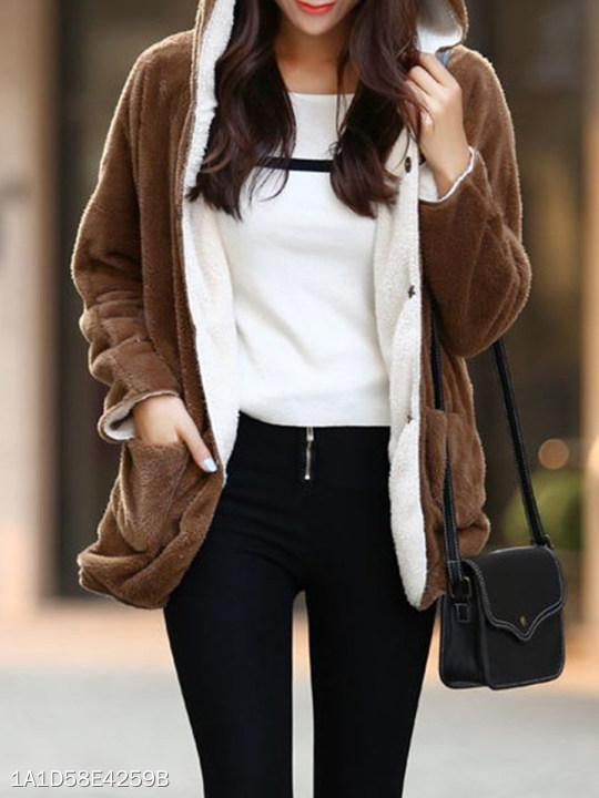 Hooded Two Way Plain Coat