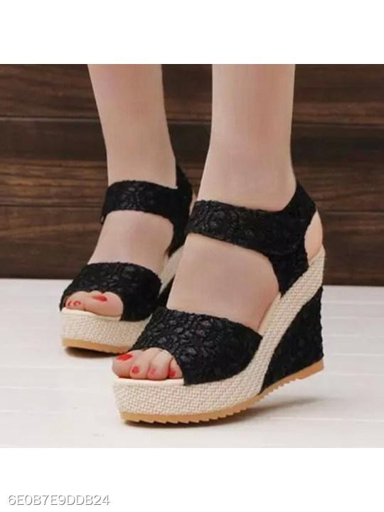 Lace High Heeled Lace Ankle Strap Peep Toe Casual Date Wedges