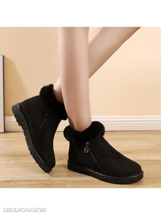 Plain Flat Round Toe Date Outdoor Short Flat Boots