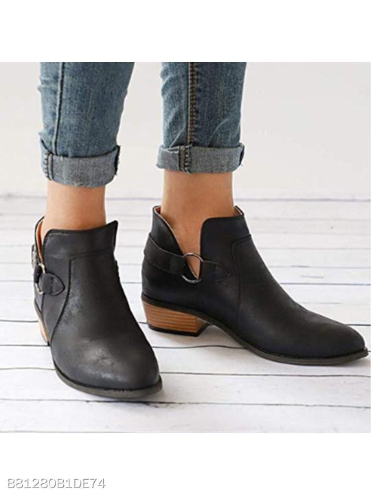Plain Chunky Low Heeled Round Toe Outdoor Ankle Boots
