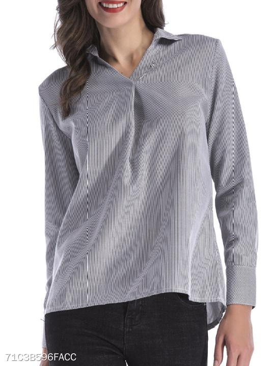 V Neck Patchwork Stripes Blouses