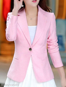 Fold Over Collar Single Button Plain Blazers