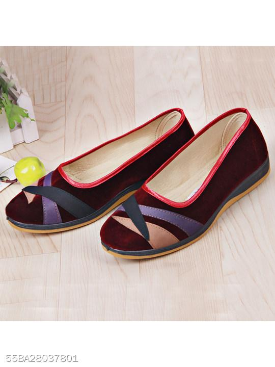 Color Block Flat Velvet Round Toe Casual Flat & Loafers