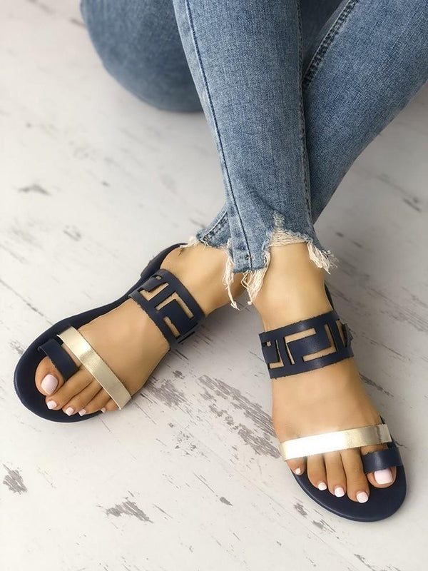 2019 Women Fashion Two Tone Hollow Out Toe Ring Flat Sandals Shoes
