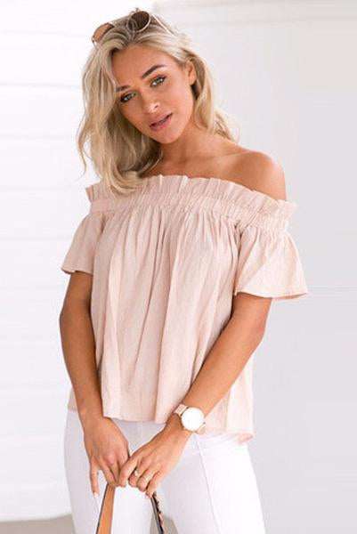 Falbala Ruffles Strapless Short Sleeves Solid Color T-shirt