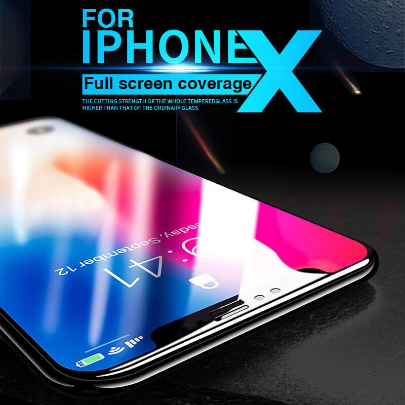 5D Full Cover Edge Tempered Glass For iPhone X 8 7 - bevsu
