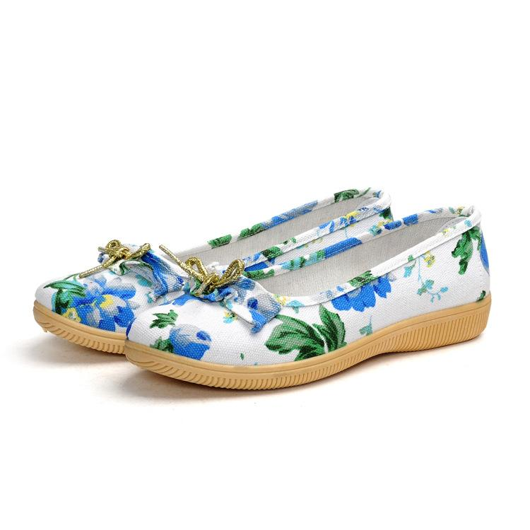 Floral Low Heeled Cotton Round Toe Casual Date Flat & Loafers
