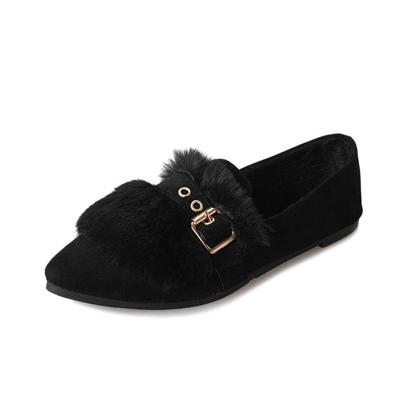 Plain Flat Velvet Point Toe Date Office Comfort Flats