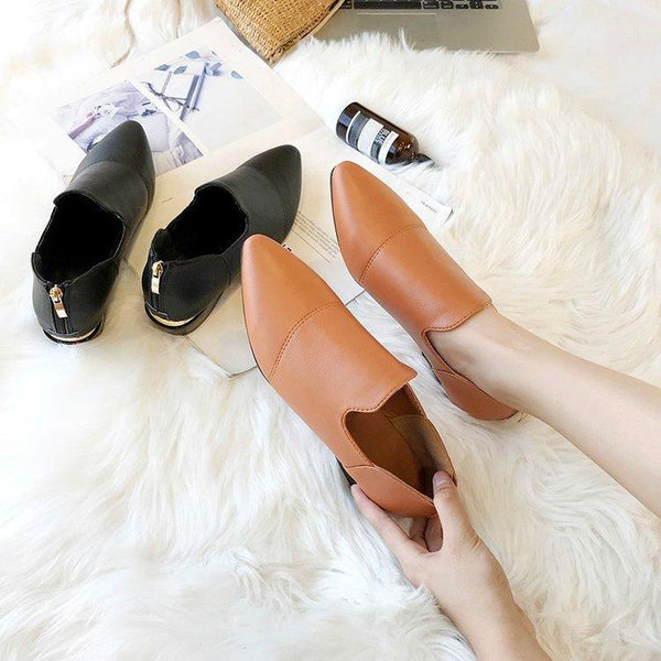 Plain Low Heeled Point Toe Date Office Comfort Flats