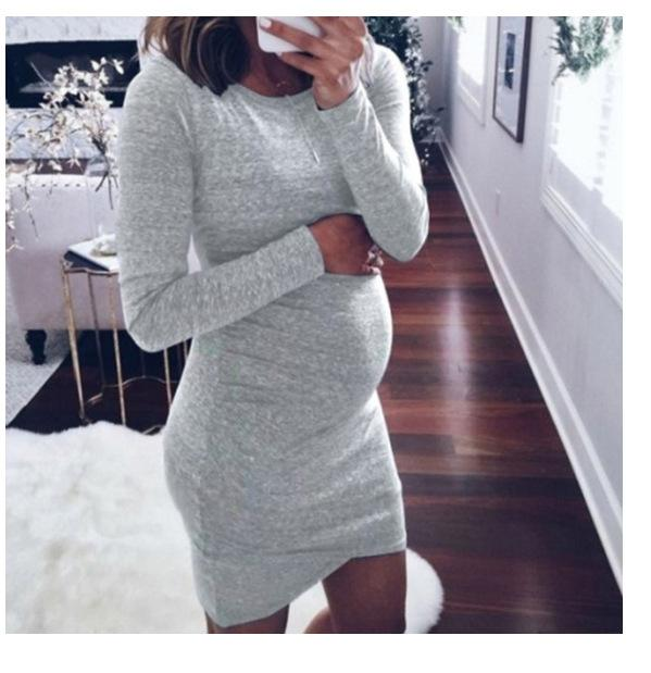 Long Sleeve Casual Maternity Dress