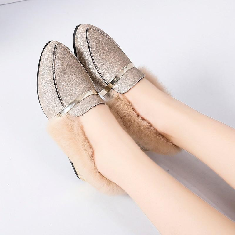Chunky Low Heeled Point Toe Casual Date Comfort Flats