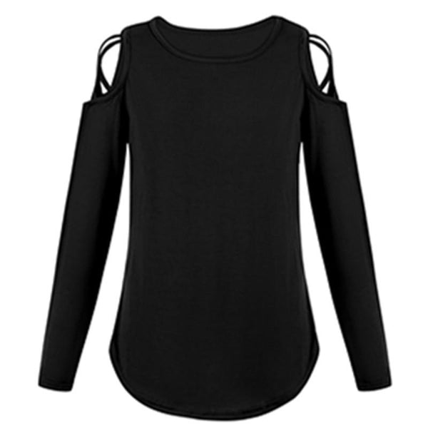 Round Neck Strapless Shoulder Cross Long Sleeve T-Shirt