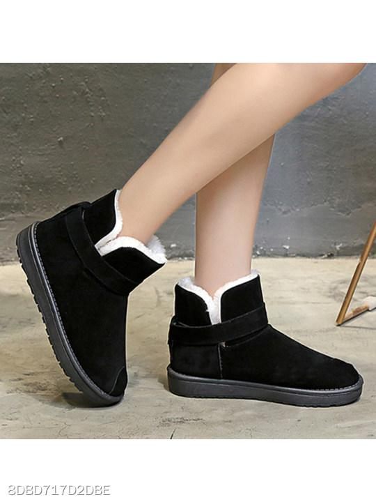 Plain Flat Velvet Round Toe Casual Ankle Flat Boots