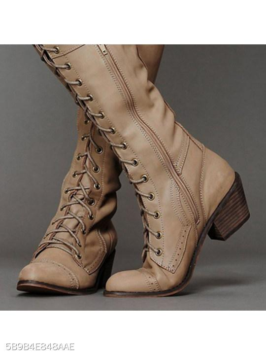 Plain Chunky Low Heeled Point Toe Date Outdoor Knee High High Heels Boots
