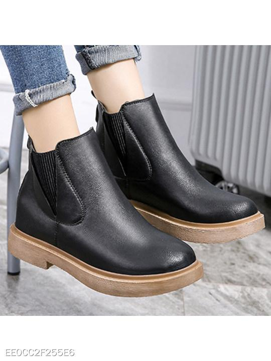 Plain Flat Round Toe Casual Date Ankle Boots