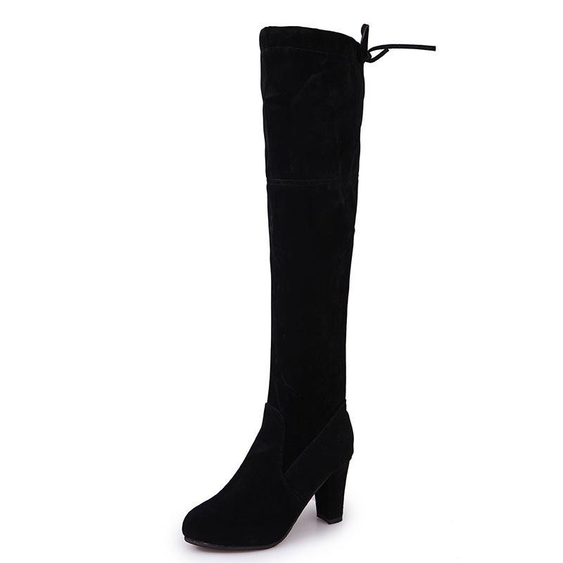 Women Winter Thigh High Boots Suede Leather