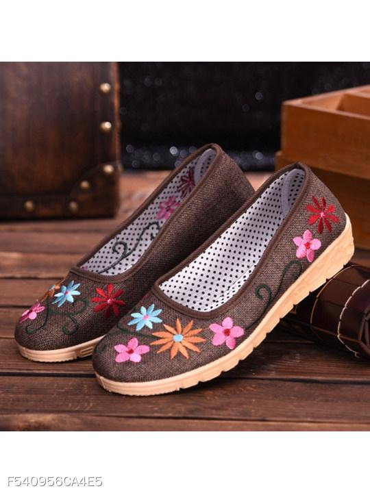 Embroidery Floral Flat Cotton Round Toe Casual Date Comfort Flats