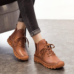 Ankle Boots - Handmade Full Grain Leather Flat Boots - OLD - Bevsu