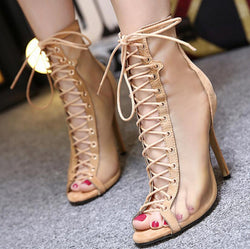 Boots - 2017 Summer Cross Straps Sexy Net Yarn High Heel Boots - Bevsu