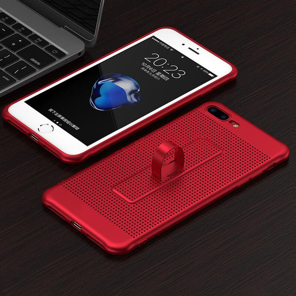 360 Full Protection Heat Dissipation + Ring Holder Case For iPhone 8 7 6 6S/Plus - bevsu