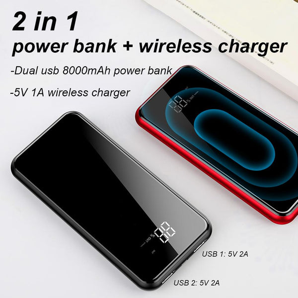 8000mAh Wireless Charger Dual USB Power Bank - bevsu