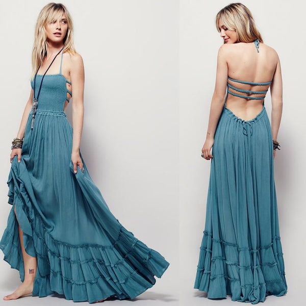 Bohemian Sleeveless Sexy Boho Long Dresses - Bevsu