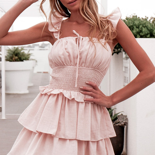 Fashion Ruffled Tube Top Dress