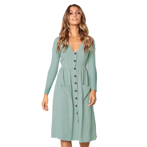 V-neck long sleeve button pocket dress