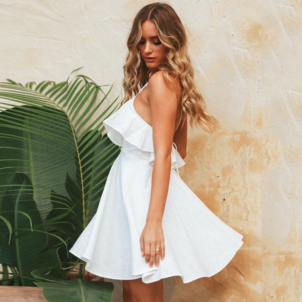 V-neck halter lace ruffled mini dress