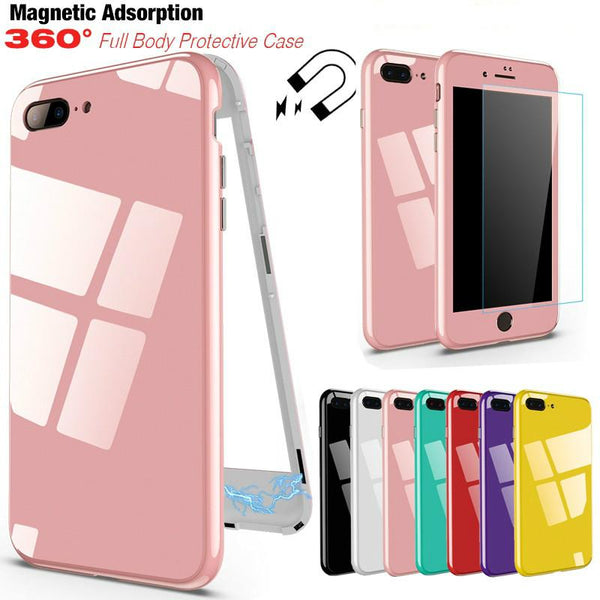 360 Degree Protection Magnetic Adsorption Phone Case + Tempered Glass-old1 - bevsu