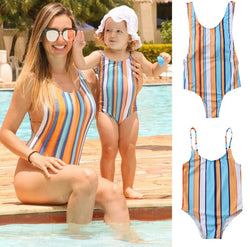 Parent-child striped bikini