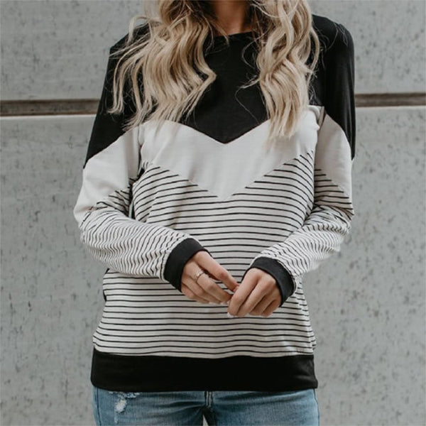 Striped long sleeve O-neck T-shirt