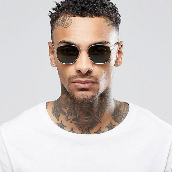 Men's / Women's Fashion Vintage Hex Metal Frame Sunglasses