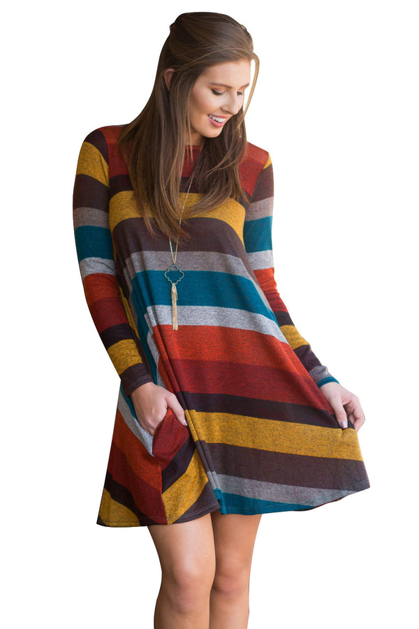 Long sleeve loose knit sweater dress