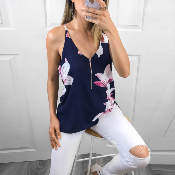Floral zipper sexy V-neck vest
