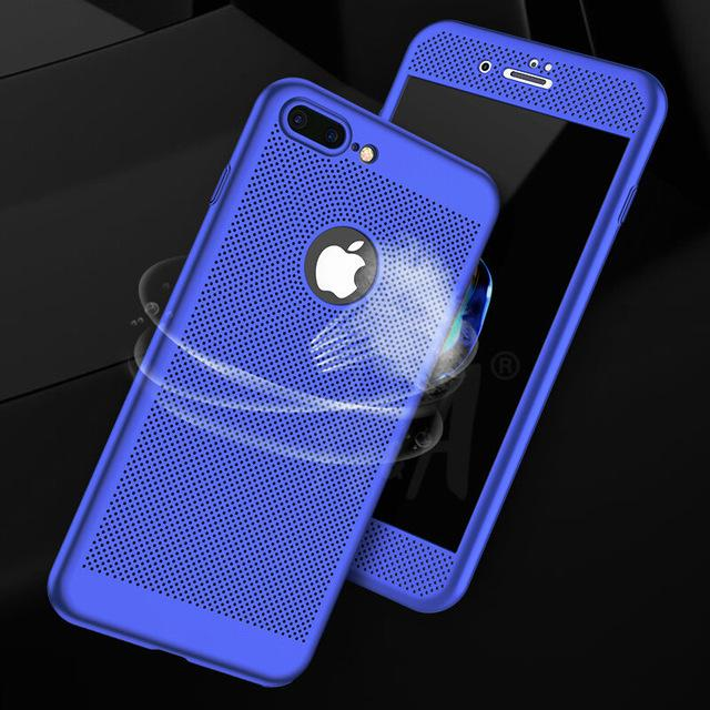 360 Full Body Cover Protective Heat Dissipation Phone Cases for iPhone 8 7 6 6s Plus With Free Glass Film - bevsu