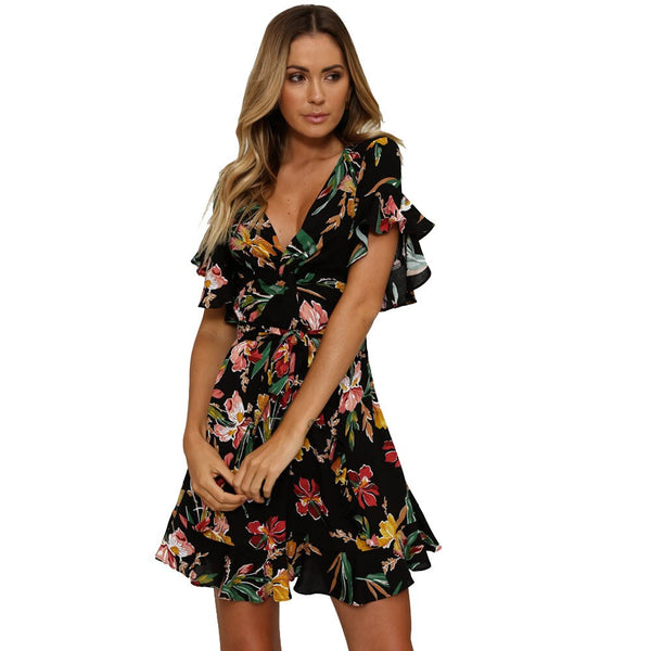 Fashion Short Sleeve V-Neck Floral Posy Vintage Dress