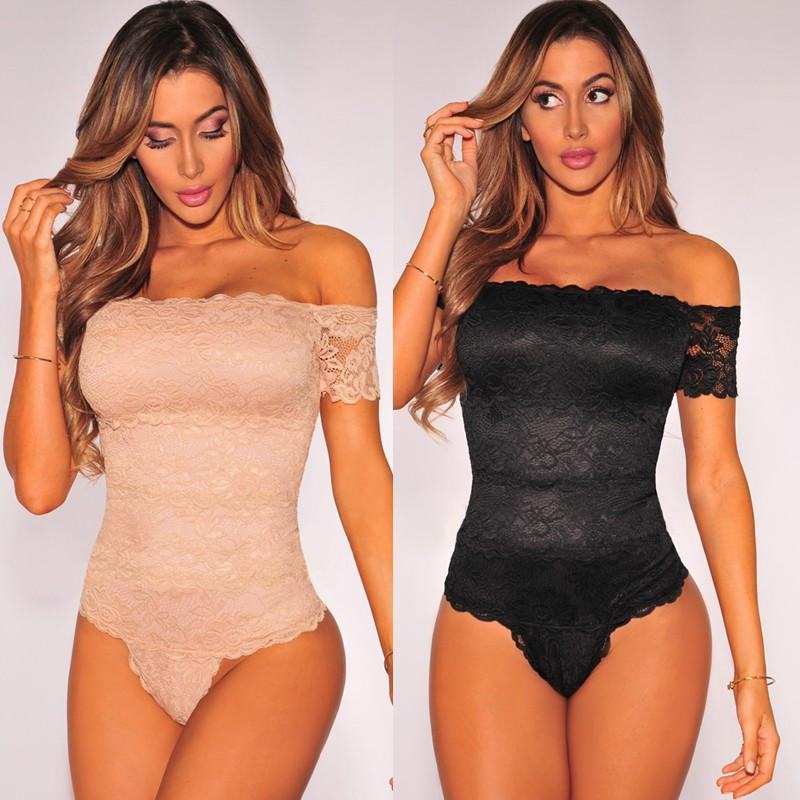 Bodysuit - Sexy Black Lace Strapless Bodycon Rompers Women Bodysuit - Bevsu