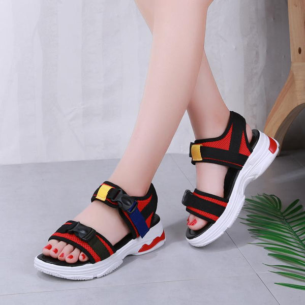 Colorful Buckle Open Toe Wedge Sandals